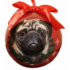 Pug Christmas Ornament Fawn Shatter Proof Ball Dog Snowflakes New Wreath Red