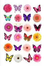 24 X MIXED FLOWER BUTTERFLY EDIBLE CUPCAKE TOPPERS CAKE RICE PAPER FB2