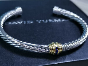 100%Authentic David Yurman cable bracelet 925,14 K set with gemstones SELL OFF!