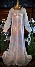 Vintage Sheer Floral Nylon Bling Negligee Caftan Ruffle Long Lounge Robe M 36