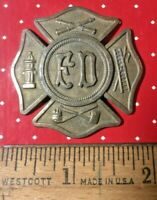 Antique Fire Department Badge Medallion Rosette Brass Firefighter FD Vintage USA