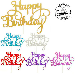 Happy Birthday Cake Glitter Toppers Pick = Choice of colours