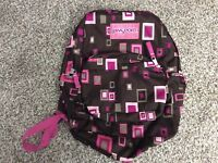 Pink and Brown geometric Jansport backpack Bag (p1)