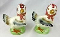Vintage Farm Chickens Anthropomorphic Scarfs Japan Salt & Pepper Shakers
