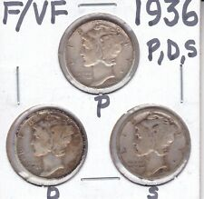1936-PDS  Mercury Dimes                F/VF                    Tougher Dates