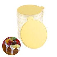 100pcs Gold Round Mousse Cake Dish Boards Tray Wedding Birthday Pastry Decor HU