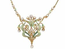 1.42 Kt Diamond & Seme Perla Smalto & 15 KT ORO Giallo Collana Art Nouveau