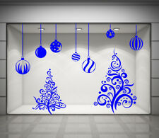 CHRISTMAS SHOP WINDOW STICKER XMAS TREE WALL STICKERS XMAS BAUBLES DECALS  NN6