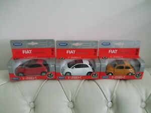 FIAT 500 + FIAT NUOVA 500 - Lot NEUF 3 Miniatures voitures en métal WELLY (1:43)