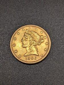 1906-S $5 Gold Liberty Half Eagle (AU) - No Reserve