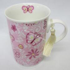 Gift Boxed Tea or Coffee Mug Butterfly Dreams Pink Butterflies Tassel & Ribbon
