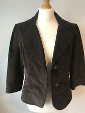 Per Una Chocolate Brown Fitted Cord Blazer Jacket 14 Peaky Riding Victorian