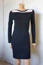 EUC Lacoste Sz 4 36 Small Sweater Dress Black Merino Extra Fine Wool Pink Cream