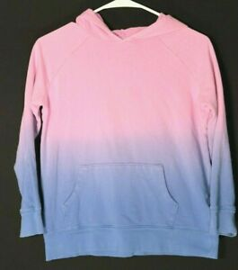 Old Navy girls long sleeve pink/blue pullover ombre hoodie, size Large (10-12)