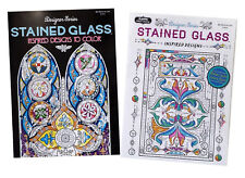 Church Windows & Relaxing Stained Glass Adult Coloring Book Set of 2 Books NEW