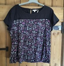 Fat Face Navy Floral Top Size 18