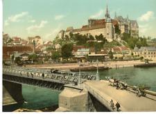 Meisen gegen die Albrechtsburg. PZ Vintage Photochromie, Deutschland photochro