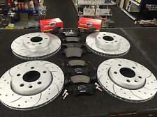 VW TRANSPORTER T5 T32 CROSS DRILLED GROOVED BRAKE DISC MINTEX PADS FRONT REAR