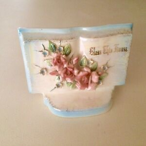 Vintage Norcrest Bless This House Wall Pocket Vase - Applied Flowers 1950 Japan