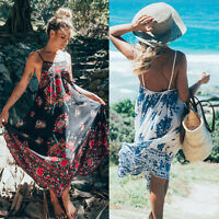 Womens Vintage Floral Halter Backless Strappy Summer Beach Mini Maxi Prom Dress