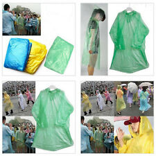 5X PONCHO Disposable Plastic Raincoat Emergency Rain Waterproof Camping POP