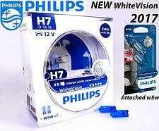 NEW H7 Philips White Vision bulb + 60% More light 12972WHVSM 12V PX26d +Blue W5W