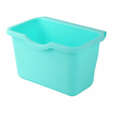 Household Plastic Rectangle Hanging Sundries Rubbish Storage Box Turquoise Blue