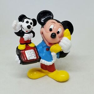 Vintage Mickey Mouse on Mickey Phone PVC Figure Disney Applause Cake Topper