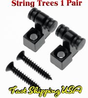 2 Gun Metal Colored Roller String Tree Guide Retainers Guitar or Bass. Fast Ship