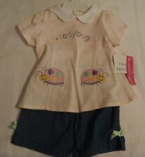 MAYFAIR COMPANY Baby Girls 24 Month Short Ladybug Shirt Outfit NWT
