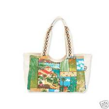 Paul Brent Canvas Medium Hobo Tote Spanish Villas Vacation Resort Bag Green  NWT