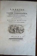 MOROZZO : ANALISI CARTA COROGRAFICA S. PIETRO - 1791 Civitavecchia Stato Chiesa