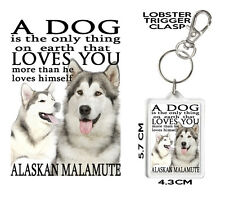 ALASKAN MALAMUTE KEYRING Can Be Personalised A Dog Loves You MALAMUTE Gift