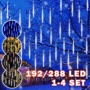 Christmas LED Meteor Shower Rain Lights Falling Icicle Snowfall Garden Decor UK