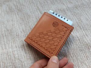 Handmade minimalist leather police wallet, metal clip wallet, field note wallet