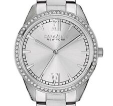 NEW $99 Caravelle Women's Crystal Accents Silver-Tone Bracelet Watch 43L178