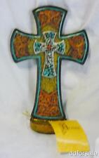 Beautiful Decorative Free Standing Western Cross With Faux Leather and Turquois