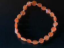 """Carnelian bracelet 7"""" Red Orange color Slightly Stretchy New Estate"""