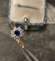 9ct Gold Sapphire & White Topaz Ring, Vintage Gemstone Cluster UK L