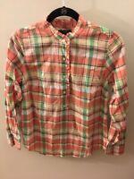 J. Crew Multi-Color Plaid Pop-over Shirt, Size 6P