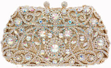 Evening Luxury Bridal Crystal Clutch Purse Bag AB Gold + 6 colors US SELLER