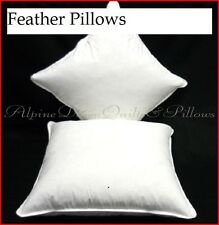 2 EUROPEAN SIZE PILLOWS - 100% WHITE DUCK FEATHERS COTTON CASING EXTRA FILL