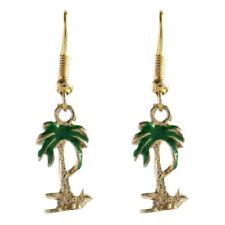 Boucles D'oreilles pendantes petit palmier vert et doré été estival léger