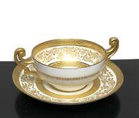 B&C Limoges France 2-Handle Gold Trim Bouillon Teacup Saucer Set L Bernardaud