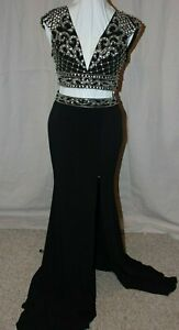 NWT Black/silver JOVANI 8375 two piece size 8 long formal prom evening gown