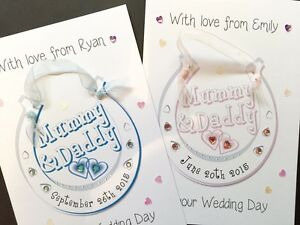 Personalised Handmade 'Mummy & Daddy Horseshoe' Card