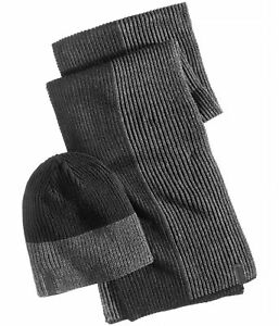 Calvin Klein Mens Colorblocked Hat Scarf, Grey, One Size
