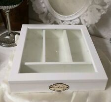 Cutlery Tray Basket Wood Glass White Shabby Vintage Landhaus 30cm