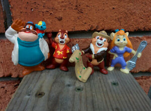 Complete Lot of 4 VINTAGE Disney CHIP & DALE Rescue Rangers GADGET MONTY ZIPPER