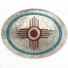 Turquoise Coral Inlay Zia Indian Belt Buckle